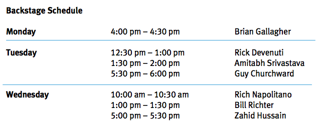 Backstage Schedule
