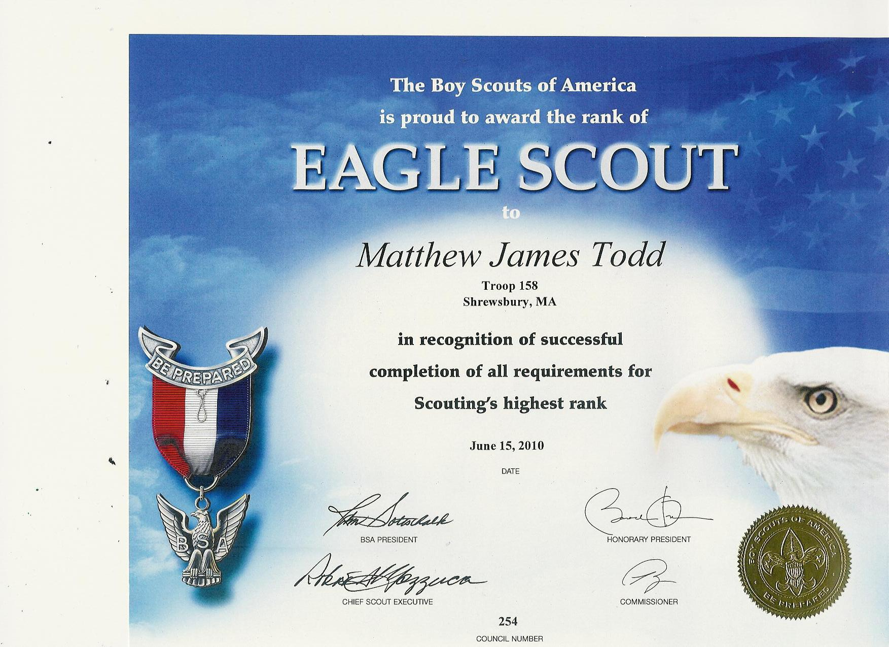 Information playground matthew 39 s eagle application and for Eagle scout certificate template