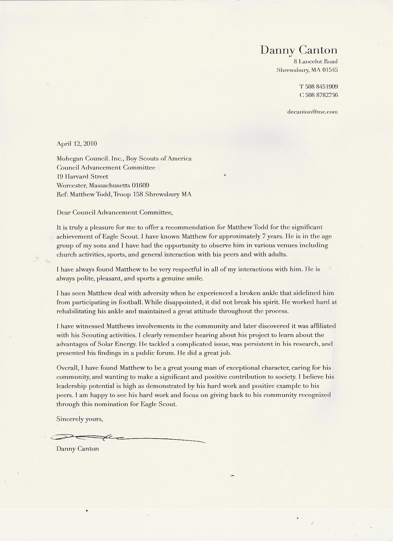 eagle scout recommendation letter Quotes